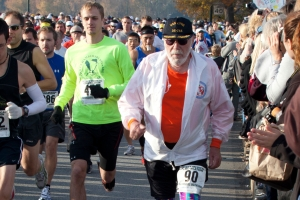 **HOLD FOR STORY BY BEN DOBBIN** Don McNelly, of Irondequoit NY. competes Sunday Nov. 14, 2010. in his 745th 